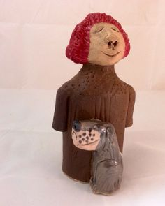 Ceramic Sculpture - A Girl and Her Dog