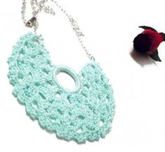 Crocheted mini doily bib necklace in aqua cotton BIG | Crochetedlittlethings - Crochet on ArtFire