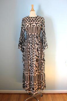 1970s Jean Varon maxi dress / 70s Op Art print dress