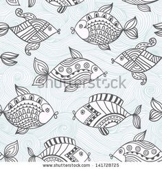 Fish pattern in abstract style.Seamless pattern can be used for wallpaper, pattern fills, web page background,surface textures. Detailed fish background - stock vector