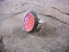 Light Pink Druzy Ring Faux Druzy Ring Pink by CaravanOfBeads