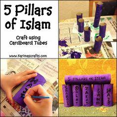 Karima's Crafts: 5 Pillars of Islam Crafts - 30 Days of Ramadan Crafts Eid Crafts, Ramadan Crafts, Ramadan Decorations, 5 Pillars, Pillars Of Islam, Ramadan Activities, Fun Activities, Children Activities, Art For Kids