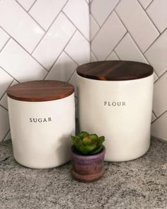 Read reviews and buy Stoneware Flour Canister with Wood Lid - Hearth & Hand™ Magnolia at Target. Choose from contactless Same Day Delivery, Drive Up and more. Ceramic Canister Set, Flour Canister, Sugar Canister, Canister Sets, Food Storage, Bag Storage, Storage Canisters, Chip And Joanna Gaines