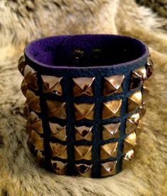 Only 4 hours left on Ebay!! Great CHRISTMAS GIFT IDEA!! 5 rows Multicolor Studded Large Cuff - Punk Rock yet Chic