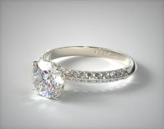Platinum Pave Knife Edge Lotus Basket Engagement Ring