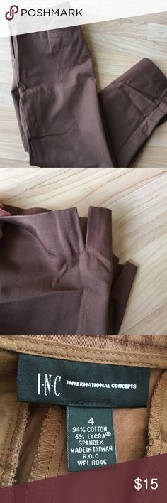 INC cropped ankle pant INC. size 4. Cropped ankle pant. Leg has side vent detail by the bottom hem (see picture 2). Caramel color (true to the color in the 3rd picture). Excellent condition. INC International Concepts Pants Ankle & Cropped