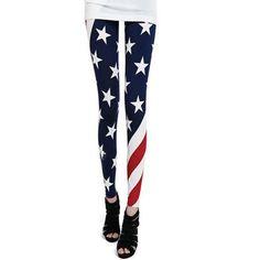 Hee Grand Womens Flag Graffiti Personality Pantyhose Leggings