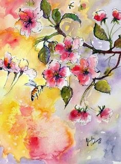 Apple Blossoms and Bee Original Fine Art Watercolors - The Art of Ginette Callaway