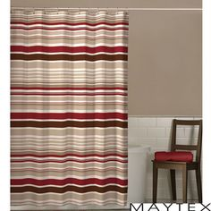 Maytex Meridian Stripe Shower Curtain | Overstock.com Shopping - The Best Deals on Shower Curtains