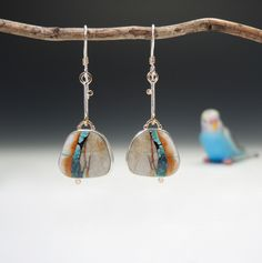 Nevada boulder turquoise earrings by Betsy Bensen || Love her earrings and these are so pretty!!
