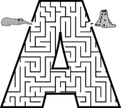 Letter A shaped maze from PrintActivities.com