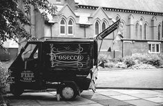 Prosecco Van for hire. Our Fizz Van at a lovely outdoor wedding venue. The wedding photographer sent us this beautiful shot.  Perfect for weddings, parties, corporate events & festivals.
