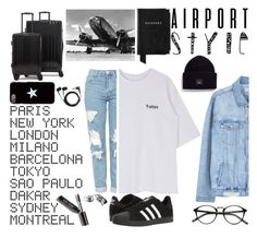 """""""airport style"""" by juhsc ❤ liked on Polyvore featuring Topshop, ADZif, Sennheiser, Acne Studios, MANGO, CalPak, adidas, Bobbi Brown Cosmetics, Givenchy and Aspinal of London"""