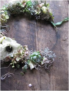 Stunning Rustic Floral Crown! Love the moss that is intertwined throughout it.