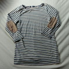 Striped Elbow Patch Top ⬇FINAL SALE PRICE!⬇ Bundle to save!  Striped top with 3/4 sleeves and suede like elbow patches. Minor flaw at neckline where seam has come undone a bit. Price reflects this defect. h.i.p. Tops Tees - Long Sleeve