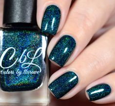 CbL The Journey Collection 2016 - Darkest Days - deep emerald teal linear holo with teal holo microglitter. Swatch by @shannasnailadventures on Instagram.