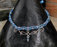 Elegante Girocollo azzurro  Elegant sky blue Choker. Elfo