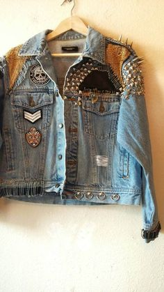 Items similar to IOU NOTHING // Restless Hands // Large L // Embroidered and Studded Light Wash Punk Denim Battle Jacket with studs spikes patches leather on Etsy Womens Fashion Online, Latest Fashion For Women, Denim Fashion, Look Fashion, Studded Denim Jacket, Studs And Spikes, Battle Jacket, Diy Clothing, Boho