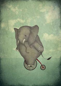 Majali - Design & Illustration: Elephant on a bike - Elefant på cykel Elephant Illustration, Bike Illustration, Elephant Love, Elephant Art, Elephas Maximus, Bike Art, Oscar Wilde, Whimsical Art, Art Drawings