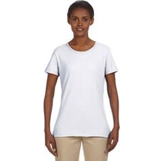 Jerzees Ladies' 5.6 oz, 50/50 Heavyweight Blend (TM) T-Shirt...Ladies' 5.6 oz, 50/50 Heavyweight Blend (TM) T-shirt. 50% cotton, 50% polyester preshrunk jersey. Double-needle coverstitched front neck. Shoulder-to-shoulder tape. Double-needle stitched hemmed sleeves and bottom. Classic ladies' styling with feminine neckline and sleeves. Sideseamed and slightly contoured for flattering fit. Seamless 1 x 1 rib collar. Oxford is 53% polyester, 47% cotton. 44 colors -