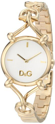 Women's Wrist Watches - DG Dolce  Gabbana Womens DW0682 Flock Gold Case Silver Dial Spaghetti Bracelet Watch ** Find out more about the great product at the image link.