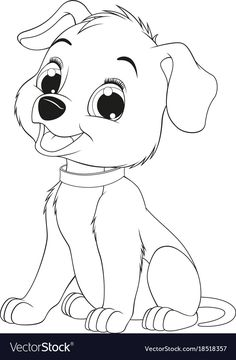 Vector illustration of a funny child's dog sitting and smiling, coloring page. Dog Coloring Page, Cute Coloring Pages, Disney Coloring Pages, Animal Coloring Pages, Coloring Books, Disney Drawings Sketches, Easy Drawings, Coloring Pictures For Kids, Coloring Pages For Kids