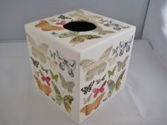 Butterfly  House Tissue Box Cover by crackpotscrafts on Etsy, £15.00