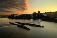 Weir of Štítka by Ondrej Zapletal on Prague Photography, Mysterious Places, More Pictures, Old Things, River, Sunset, City, Outdoor, Outdoors