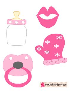 Lips Milk Bottle Pacifier And Mitten In Pink Color