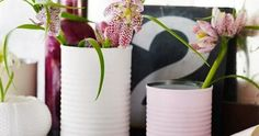 50 Extremely Ingenious Crafts and DIY Projects That Are Recycling, Repurposing & Upcycling Tin Cans Reuse Jars, Recycle Cans, Repurpose, Painted Tin Cans, Paint Cans, Painted Vases, Tin Can Crafts, Diy And Crafts, Upcycled Crafts