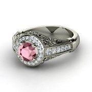 Round Rhodolite Garnet 14K White Gold Ring with Diamond