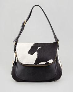Jennifer Medium Calf Hair Shoulder Bag, Black/White by Tom Ford at Neiman Marcus.