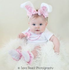 a6bf0995d5db Spring Pink and White Pretty Pink Bow Easter Bunny Ears Stretch Headband  GREAT PHOTOGRAPHY PROP Hall