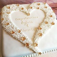 50th Wedding Anniversary cake, hearts & flowers