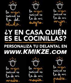¿Y en tu casa quién es el cocinillas? Personaliza tu delantal con nuestros diseños en http://www.kmikze.com/33-cocina o con la imagen y texto que quieras!  #delantales #personalizacion #lamejorcocina #masterchef #kitchen #cooking #zaragoza