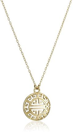 18k Yellow Gold Plated Sterling Silver Greek Key Necklace 18 >>> Click on the image for additional details.Note:It is affiliate link to Amazon.