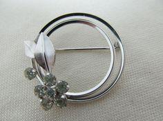 KREMENTZ Floral Crystal Pin Item 279 by KittyCatShop on Etsy