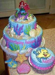 The Little Mermaid birthday cakes Little Mermaid Birthday Cake, Little Mermaid Cakes, 1st Birthday Cakes, Little Mermaid Parties, The Little Mermaid, Birthday Ideas, Happy Birthday, Fancy Cakes, Cute Cakes