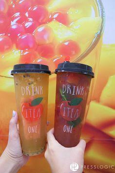 百香果水果茶(左)($19)有西瓜、西柚及百香果