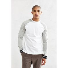CPO Toepfer Cuffed Raglan Tee ($38) via Polyvore featuring men's fashion, men's clothing, men's shirts, men's t-shirts and white