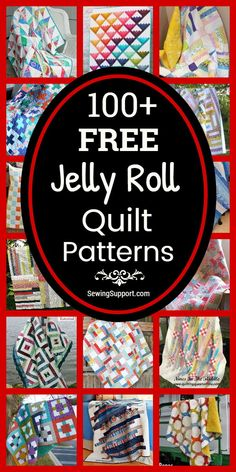 Free Quilt Patterns for Jelly Roll Quilts. 100  Free Jelly Roll quilt patterns, sewing tutorials, and diy projects great for use with jelly roll fabric strips. Many simple designs easy enough for beginners to sew. #Jelly #Quilts #Quilting #Pattern #Free
