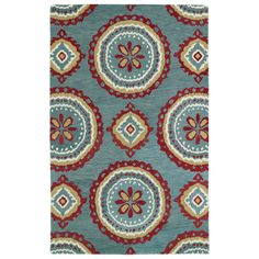 Hand-tufted de Leon Turquoise Rug (8' x 10') - Overstock™ Shopping - Great Deals on 7x9 - 10x14 Rugs