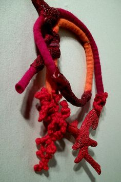 felt,paper,cotton string  corals, barnacles and shells