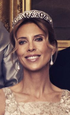 Pearl and Diamond Tiara worn by Tatjana d'Abo at Princess Madeleine of Sweden's wedding -  Tatjana is sister of Madeleine's   new husband, an American financier