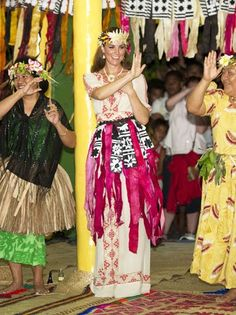 Kate Middleton Goes Native in Colorful Straw Skirt to Dance on the Island of Tuvalu