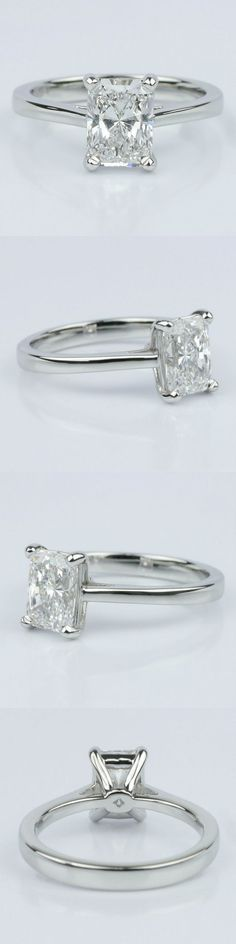 Petite Cathedral Solitaire Engagement Ring. Radiant 1.60 Ctw. Color: D Clarity: VS2 Cut: Super Ideal Certification: GIA Diamond/Gem Cost: $10,524 Metal: Platinum Setting Cost: $795 www.brilliance.com