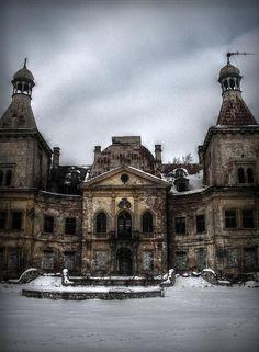 Abandoned palace in Manczyce, Poland.
