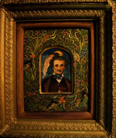 Edgar Allan Poe - Poe with Raven Fairies - Original Oil Painting in Antique Frame