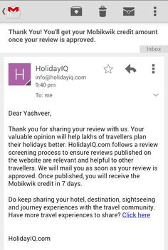HolidayIQ Loot – Get Upto Rs 500 Mobikwik Wallet Cash by Writing Hotel Reviews  http://rechargetricks.in/holidayiq-loot-get-upto-rs-500-mobikwik-wallet-cash-by-writing-hotel-reviews.html  #Mobikwik #Wallet #Cash #HolidayIQ