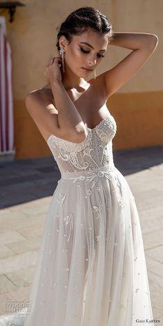 gali karten 2018 bridal strapless sweetheart neckline heavily embellished bodice bustier romantic soft a line wedding dress medium train (3) zv -- Gali Karten 2018 Wedding Dresses